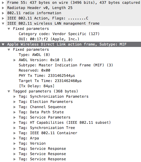 Wireshark dissecting an AWDL frame